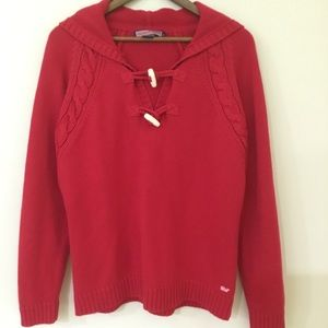 Vineyard Vines red toggle hooded knit sweater XL